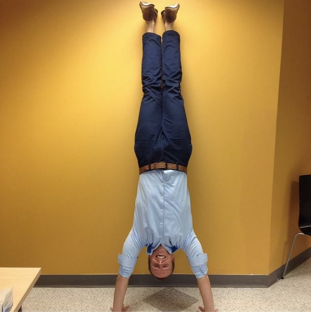 Charles doing handstand